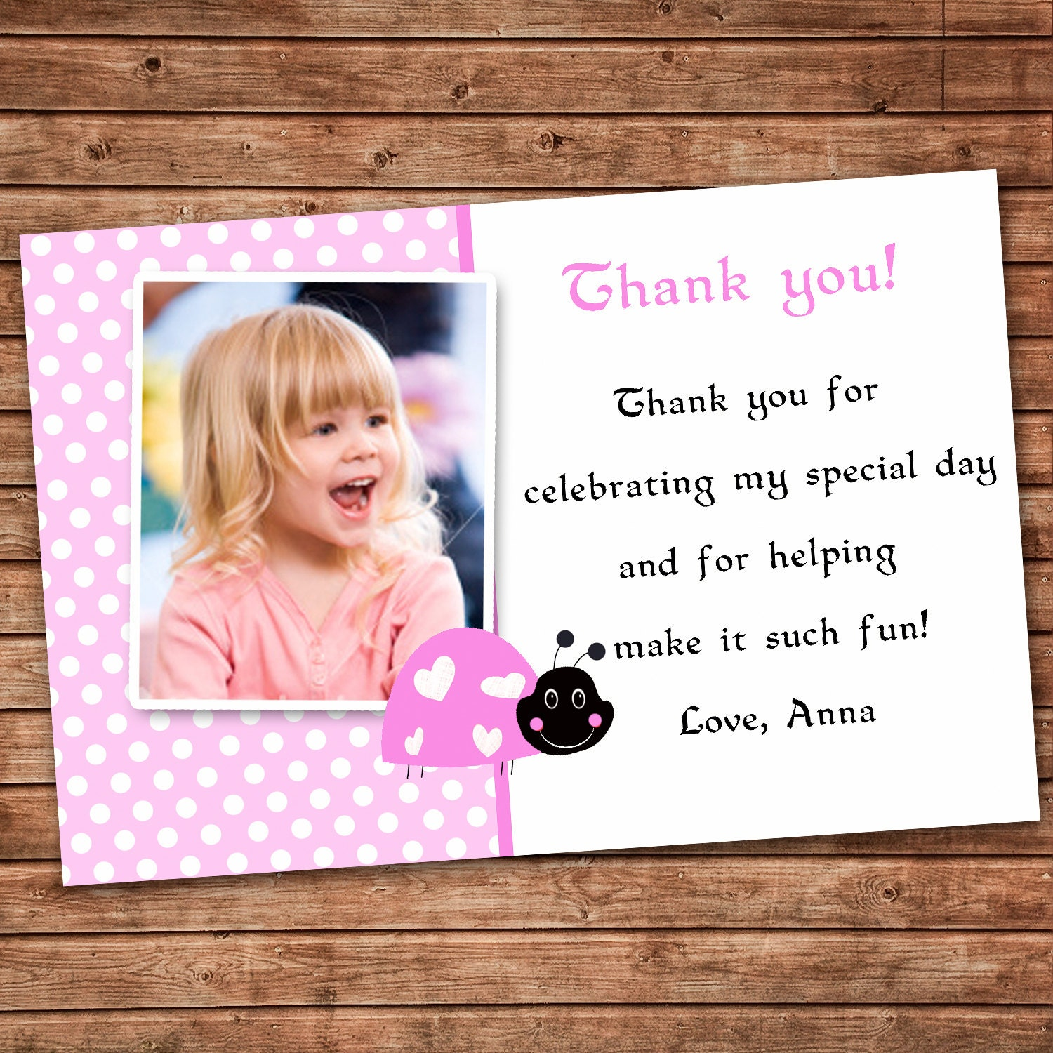 Personalized Any Wording Pink Thank You Card Little Ladybug