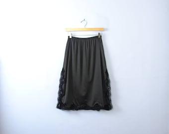 Vintage 60's black slip skirt with lace trim, black skirt slip, size medium / large
