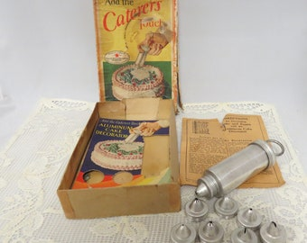 Vintage Aluminum Icing Kit In Box Recipes Cater's Touch Good Housekeeping Seal No. 2804 Extra Tips