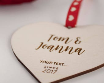 Personalised Love Heart Gift // YOUR TEXT // Laser Cut and Engraved Plywood // Valentines Day
