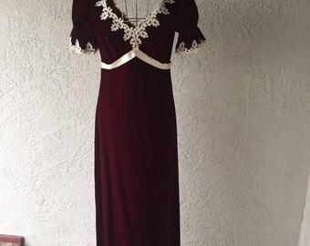 AMAZING Handmade 1970's Burgundy Velvet Long Dress Women's Size Small