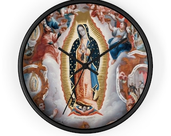 Wall Clock - Our Lady Of Guadalupe - Religious Home Decor - Catholic Home Decor - Virgin Of Guadalupe Clock