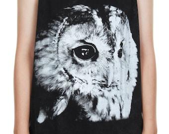 SALE ! Owl Tank Top Owl Shirt Hedwig Owl Stonewashed Bleached Animal Art Design Tank Women Shirt Tunic Top Tank Top Size M,L,XL - IZJBT123