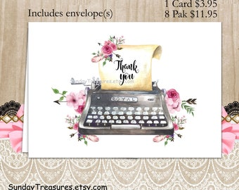 Vintage Typewriter Thank You Cards / Buy 1 for 3.95 / or / Paks of 8 for 11.95 / Blank Inside / Shabby Pink Flowers  Cards Personalized (nc)