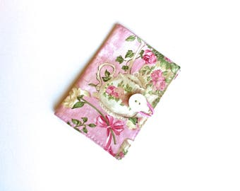 Tea Bag Caddy, Tea Bag Wallet,  Tea Cup Print, Business Card Holder, Secret Pal Gift, Mothers Day Gift, by 8th Day Encore
