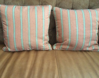 REDUCED Salmon and Green Striped Pillows