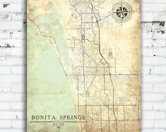 BONITA SPRINGS FL Canvas Print Florida Vintage map gift home decor City Plan Vintage Wall Art home office decor poster retro antique old map