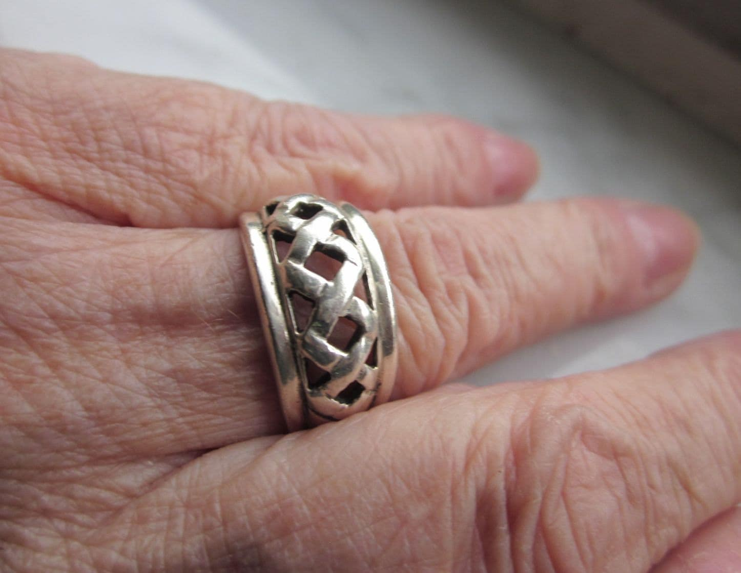 Sterling Celtic band woven silver 925 ring clearance sterling