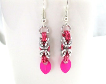 Pink and Silver Byzantine Chainmaille Earrings - Ready to Ship