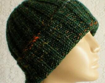 Green tweed watch cap, slouchy hat, brimmed beanie hat, green hat, toque, mens womens knit hat, ski toboggan, green beanie hat, hiking hat