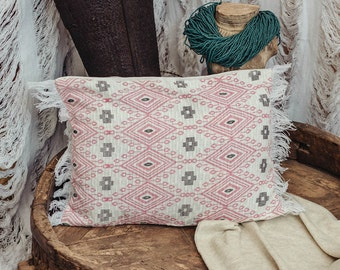 Boho Throw Pillow Cover in Pink White, 12x18 Rectangle Pillow, Cushion Cover, Bohemian Pillow Case, New Home, Housewarming Gift