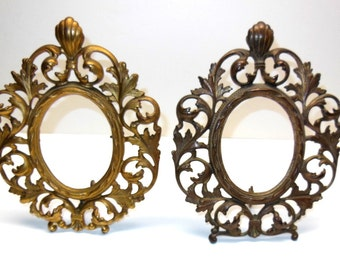 Pair Vintage Antique Brass Oval Frames Ornate
