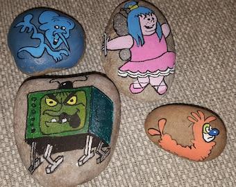 Set of 4 Wilo the Wisp hand painted rocks