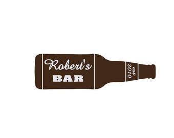 Individual Beer Bottle Sign Bar Sign Man Cave Wall Art Decal - small sizes