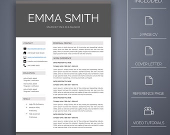 Resume Template 15 - 4 pages, Cover Letter, Microsoft Word, Instant Download, Professional Resume Template, CV Template, CV Template Word