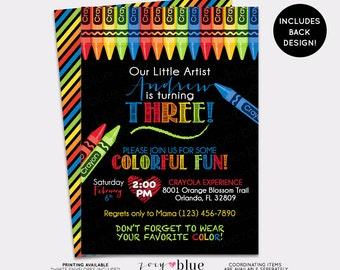 Art Party Birthday Invitation - Chalkboard Crayon Painting Party Invite Boy birthday Coloring Invitation Striped Colorful - Digital File