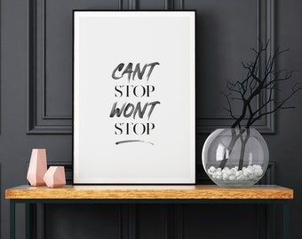 Cant Stop Wont Stop Motivational Typography Print, Inspirational Print, Wall Print, Quote Art, Typography Quote, Inspirational Print