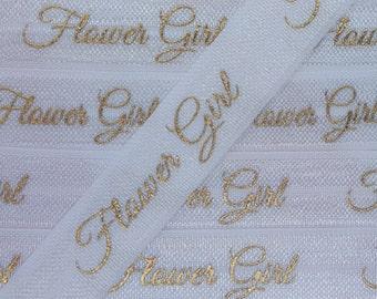 5/8 White FLOWER GIRL in Gold Foil, Fold Over Elastic