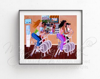 Spinnin' In The Spirit--Multi-Cultural Inspirational Fitness Exercise Print