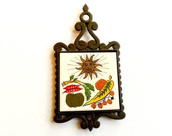 Vintage Enesco Sun Trivet Cast Iron Painted Tile Vegetables Mid Century Retro Kitsch Kitchen Decor Gilded Gold Anthropomorphic Made in Japan