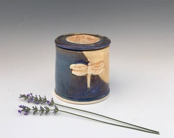 Blue and Cream French Butter Dish Embellished With a Dragonfly - Butter Crock - Handmade Butter Dish