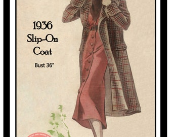 1930's Slip on Coat Sewing Pattern -  PDF Instant Download