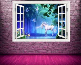 Full Colour Unicorn Window Wall Art Sticker Decal Transfer Graphic Print Girls Bedroom Decor Wall Feature Decals Unicorns WSDW1