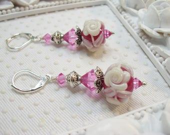 Pink and White Floral Earrings, SRA Lampwork Earrings, Floral Lampwork Earrings SRA, Earrings, glass earrings, Easter earrings