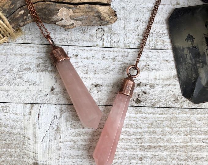 Rose Quartz Pendant / Boho Necklace / Polished Crystal necklace