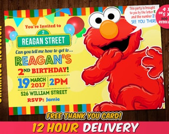 Elmo invitations etsy elmo invitation with free thank you card elmo birthday invitation sesame street invitation filmwisefo Choice Image