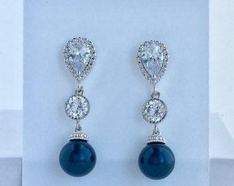 Navy Blue Pearl Bridal Earrings Dark Blue Pearl Crystal Earrings Dark Blue Swarovski Pearl Crystal Earrings Blue Bridesmaid Pearl Jewelry