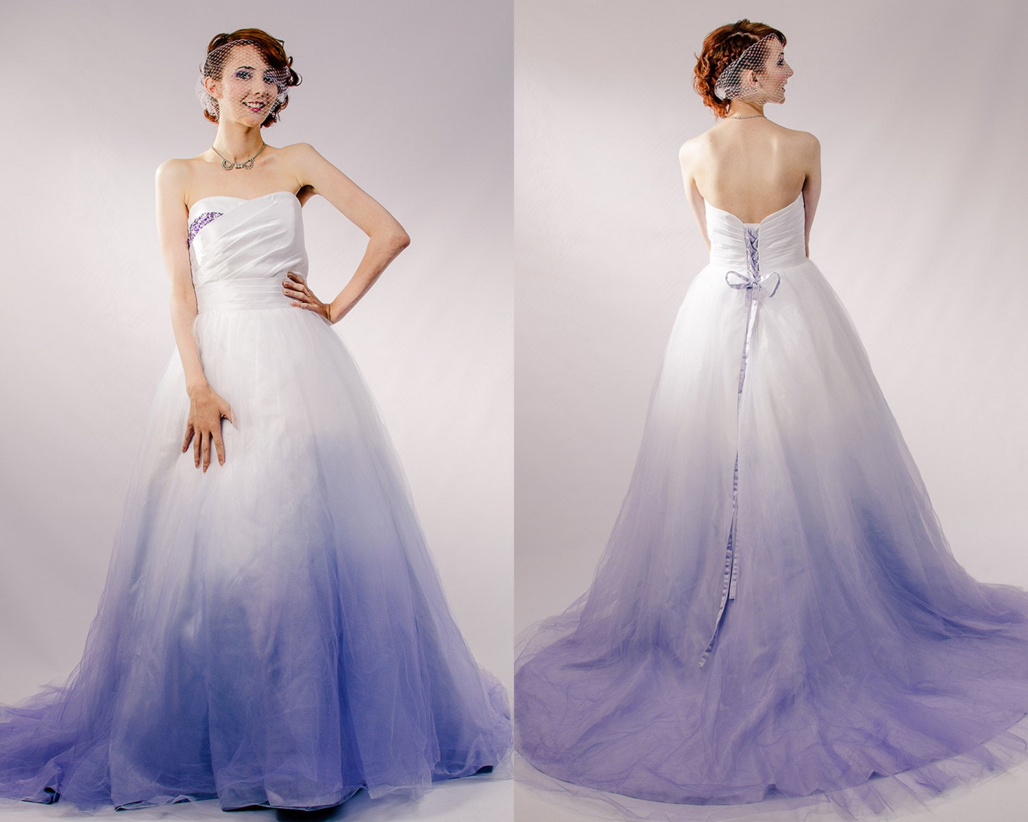 Dip dyed wedding dress purple ombre wedding dress couture for Different colored wedding dresses