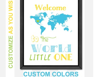 new baby gift, welcome to the world baby shower, travel nursery decor, world map nursery, baby nursery decor, new mom gift, baby room decor