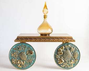 Vintage Mid Century Modern Pair Brass Turquoise Wall Plate Plaques Kitchen Decor