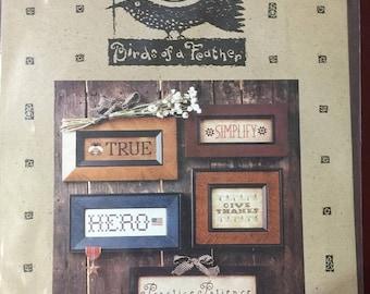 "APRILSALE Birds of a Feather ""Words"" cross stitch pattern OOP"