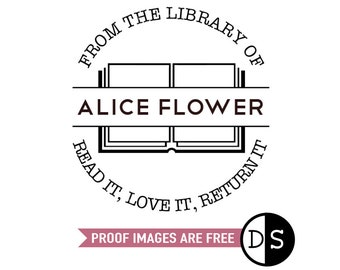 """Custom From The Library Of Stamp, read it, love it, return it, personalized stamp, book stamp, book gift stamp, 1.8""""x1.8"""" (cts115)"""