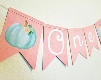 Pumpkin highchair banner, pumpkin birthday banner, little pumpkin, fall party,