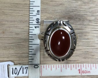 Vintage 925 Sterling Silver 7.5g Ring Size 10 Carnelian Oval Used
