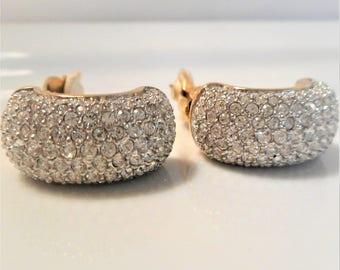 40% Vintage Swarovski Crystal Wide Hoop Signed Clip On Earrings, Vintage 1980's Swarovski Pave Crystal Demi Hoop Clip On Earrings, DAZZLING!
