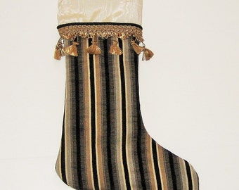 Christmas Stocking Black Cream Stripe