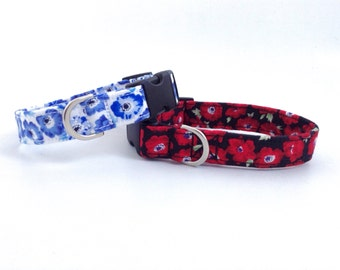 Poppy Dog Collar | Floral Dog Collar | Red Dog Collar | Girl Dog Collar | Puppy Collar | Dog Collar | Small Dog Collar | Large Dog Collar