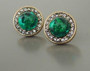 Vintage Inspired Earrings - Green Opal Earrings - Crystal Earrings - Rhinestone Earrings - Stud Earrings - Antiqued Gold Earrings - handmade