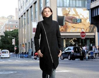 Wool Jacket/ High Collar Jacket / Winter Jacket / Asymmetrical Jacket / Trench Coat / Wool Jacket / Marcellamoda - MC0720