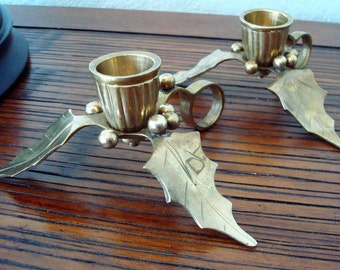 Vintage Brass Holly Leaves & Berries Candle Stick Holders - Set of (2) - Excellent Vintage Condition!!