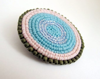 Mandala BEAD CIRCLE Pin Brooch Pin in pink, turquoise, aqua and olive green beading. Signed beadweaving. 50mm