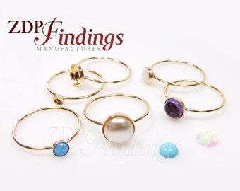 1pc x 14k Gold Filled delicate Skinny Stacking Bezel cup Ring fit Round Cabochon Gemstone, Choose Your Size (TGF)