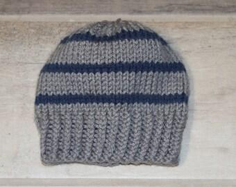 Newborn baby boy hat, handknit hat, knitted baby beanie