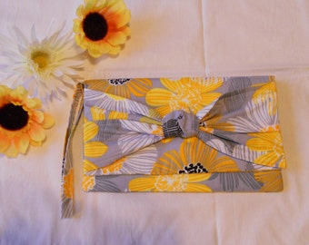 SALE - Knot Clutch - Yellow and Grey Flowers