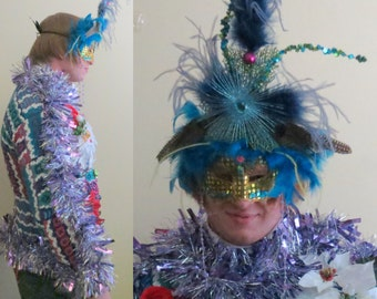 OOAK Tacky Ugly Christmas Sweater Party Venetian Feather Mask Masquerade Ball  Sequined Ostrich Glam, Peacock Blue Costume Head Piece