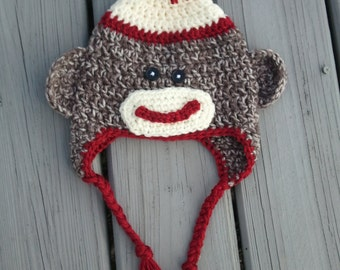 Sock Monkey Hat-  Baby Sock Monkey Hat- Infant Sock Monkey Hat- Baby Sock Monkey Hat